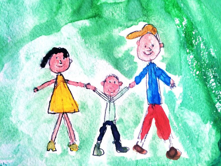 Alex Drawing 7 years old Family People Boy Son Parents Mother Father Child Drawing Hand Drawing Drawing Picture Child Paint Watercolor Painting Colorful Imagination Painted Image Алекс рисует Happy Family Man Woman