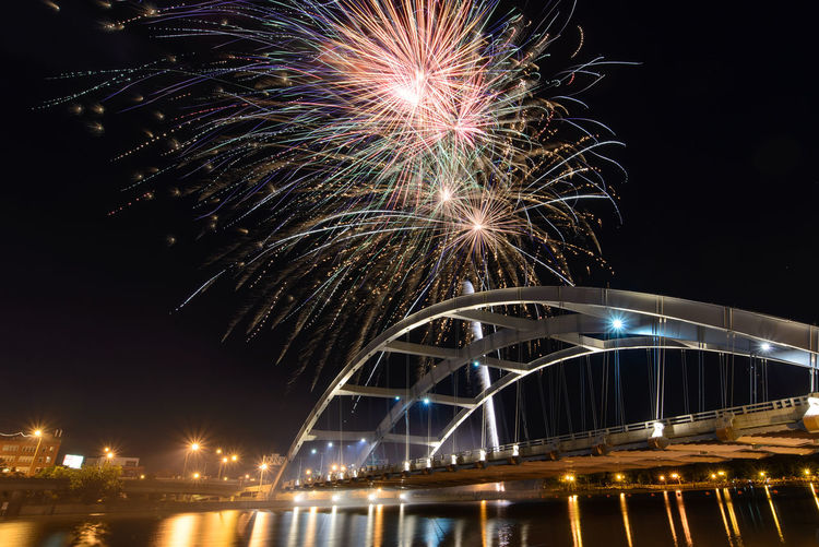 4th Of July Downtown Fireworks Rochester, NY Architecture Bridge Bridge - Man Made Structure City Firework Firework Display Freddy Sue Bridge Genessee River Illuminated Night Sky Water