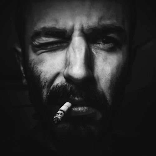 Black And White Self Portrait Smoking Dark