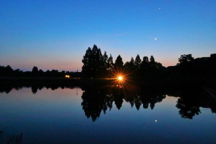池 湖 木 森 リフレクション 空 ソラ 月 EyeEm Daily 朝 Dramatic Sky EyeEm Nature Lover EyeEm EyeEm Daily Nature Beauty In Nature Space グラデーション Sunrise Cityscape Urban Skyline 金星 Silhouette Water Reflections Reflection Lake View