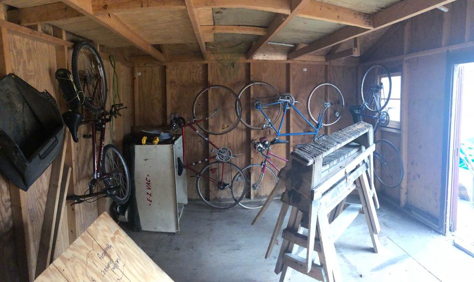 Bikes Bikes Wood Shed No People