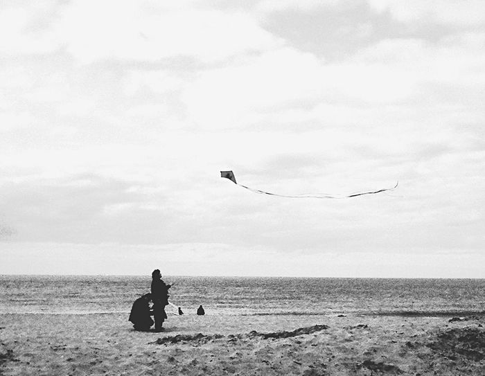 Deauville Plage Beach Cerf Volant Flying Flying Kites Child Kid Light Wind Windy Seaside Normandie Air France Fun Playground Blackandwhite Contrast Silhouette Silhouettes