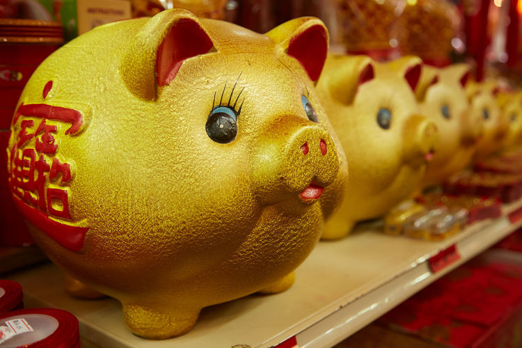 Golden pig statue as decoration for Chinese New Year Chinese Chinese New Year Feng Shui Worship Festive Festival Temple Decoration Piglet Pig Coin Money Representing