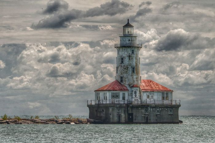 Chicago Harbor Lighthouse Beacon Chicago Architecture Building Exterior Built Structure Cloud - Sky Clouds Day Horizon Over Water Lighthouse Nature No People Outdoors Overcast Sea Sky Water Waterfront