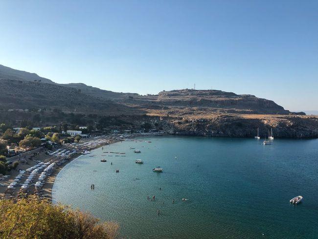 Rhodos Lindos Greece Tourist Sand Nature Bay Beach