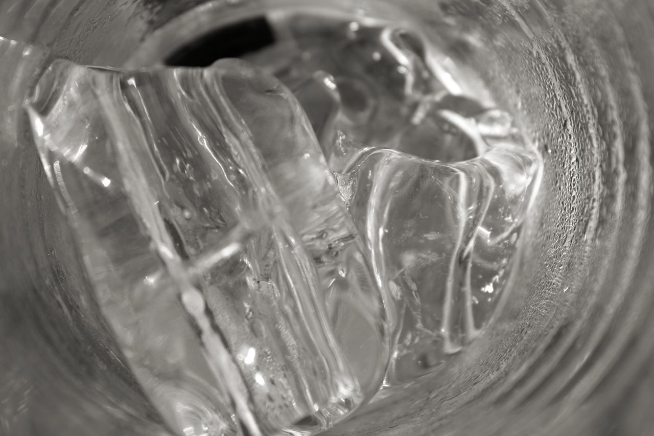 CLOSE-UP OF ICE GLASS