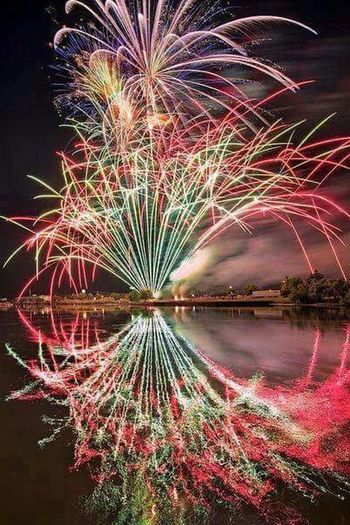 Midnight fireworks. Midnight Fireworks New Year's Eve Goodbye 2015. Hello 2016 Happy New Year 2016 Fresh Start New Possibilities Clean Slate Fireworks Lighting Up The Night... Reflections Night Photography