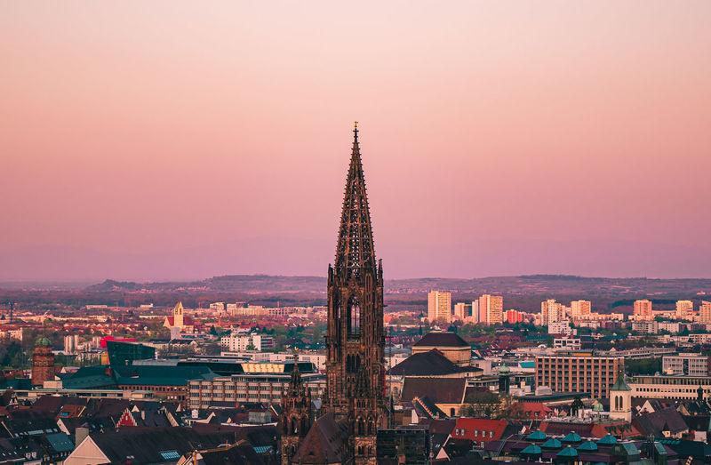 Freiburger münster church in sunrise