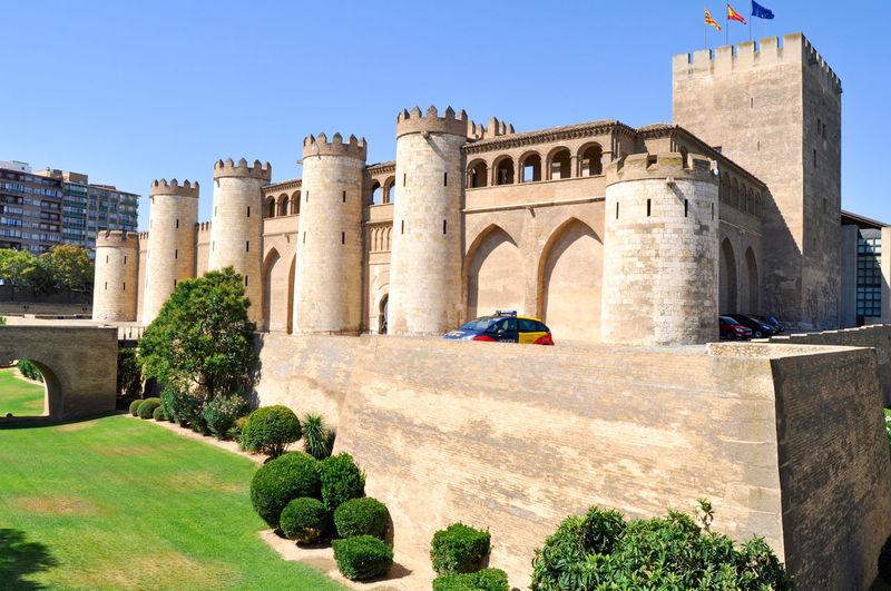 Castle against clear blue sky