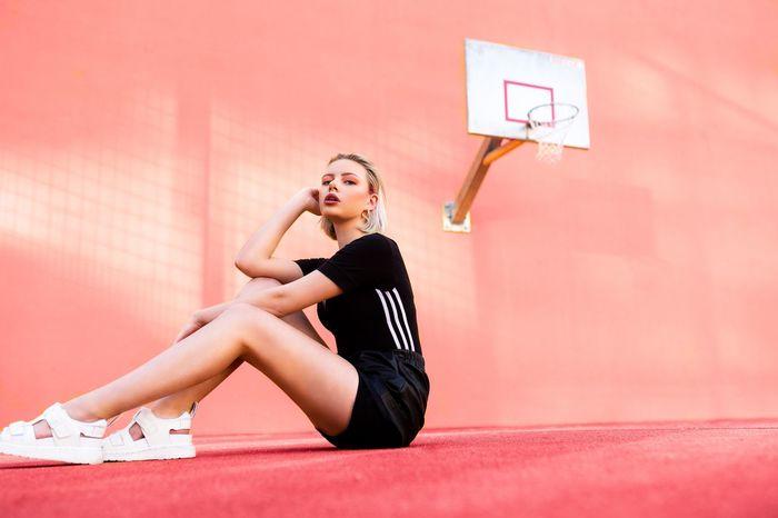 Court Game 🏀🔥 Pink Adidas Originals Adidas Fashion Ballin Baller Sportplatz Gane Cover Hip Hop Basketball Berlin Stuttgart One Person Sport Full Length Athlete Young Adult Healthy Lifestyle Women