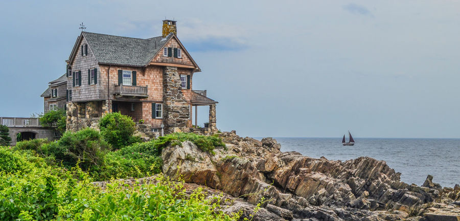 House On The Hill Maine Rocky Coastline Architecture Beauty In Nature Building Exterior Built Structure Cedar Shingles Day Growth History Horizon Over Water House On The Rock Nature No People Outdoors Scenics Sea Sky Tranquility Travel Destinations Tree Water