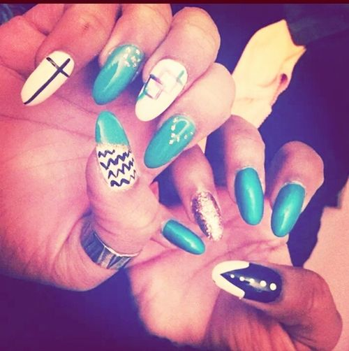 Mee &&' My Cousiin Nails ? (miiness on the leftt) New Nails :)  Pretty I Love My Nails <3 DOPE