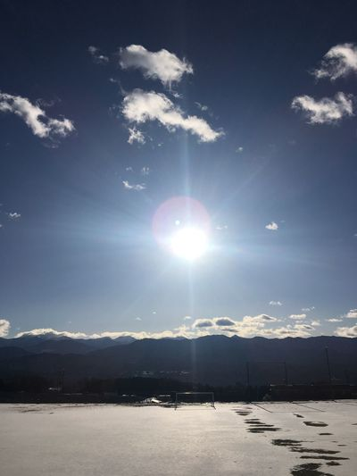 Sun Snow Cold Temperature Sky Winter Nature Beauty In Nature Cloud - Sky Tranquility Scenics Sunbeam Landscape No People Weather Outdoors Lens Flare Day Tranquil Scene Sunlight Mountain