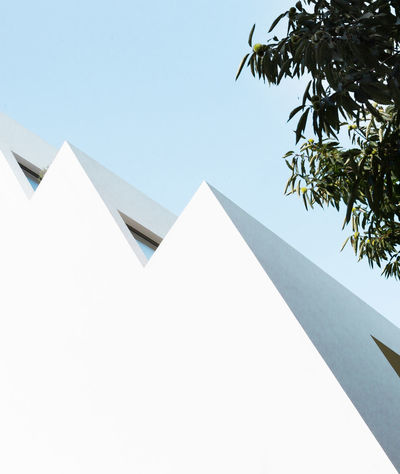 Minimalist Architecture Useformat Façade Geometric Architecture Modern Architecture Urban Exploration Urban Geometry Architecture Building Exterior Built Structure Clear Sky Close-up Day Low Angle View Minimal Minimalism Minimalobsession Sky Tree Urban Landscape White Background Whitewashed Windows Colour Your Horizn