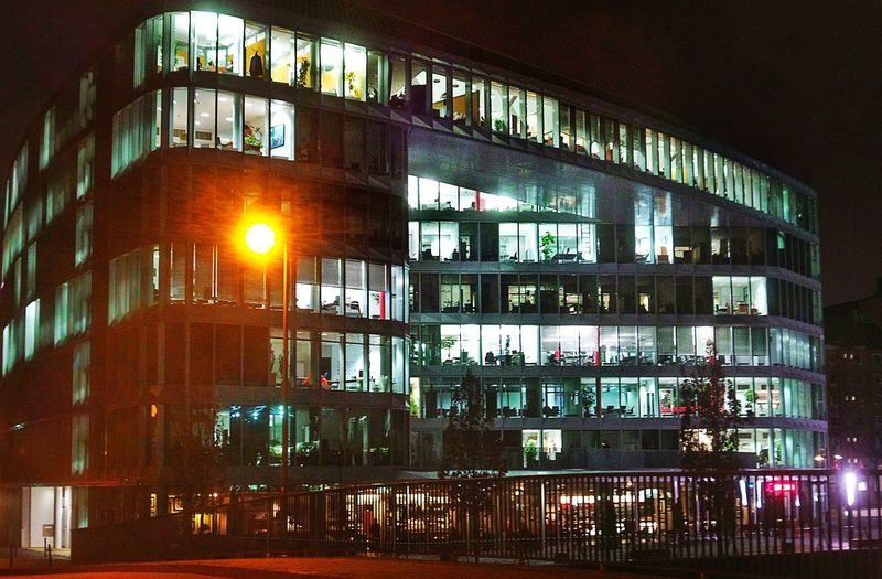 Nightshot Modern Architecture Transparent Office Building Glass Facades Closing Time End Of Working Day The Transparent Man Illuminated Building Illuminated Windows Westharbour Frankfurt Am Main Germany🇩🇪 The City Light The Street Photographer - 2017 EyeEm Awards The Architect - 2017 EyeEm Awards The Architect - 2018 EyeEm Awards