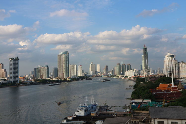 One fine day along Chaopraya River, Thailand Chaophraya River Thailand_allshots Thailand Photos Thailandtravel River View Riverscape River Collection Riverview Riverside Photography Asiatique View From The Bridge View From The Car Blue Sky Clouds And Sky Buildings Landscape_Collection Landscape_photography Landscape Bangkok Thailand Capital City