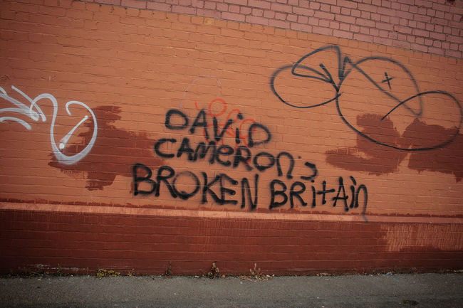 Welcome to David Cameron's Broken Britain. Brick Wall Broken Britian Close-up Conservative Conservatives David Cameron Day England England, UK England🇬🇧 Fratton Fratton Park Graffiti Graffiti Wall Outdoors Political Political Party Political Street Art Politics Portsmouth Prime Minister Text Uk United Kingdom Wall - Building Feature