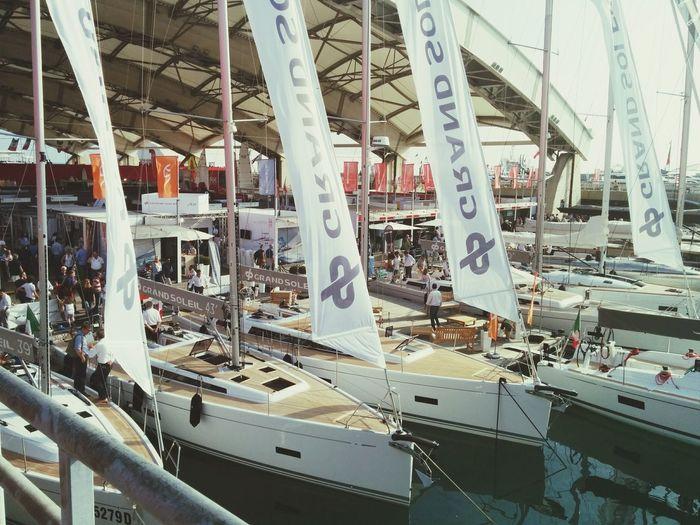 Admiring Sailboats. Salone Nautico Genova Sailing