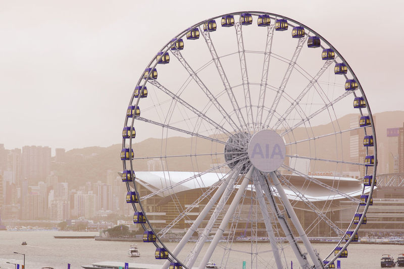 Hong Kong Observation Wheel Hkig Hk Hkobservationwheel Nikon Discoverhongkong HongKong Photography Nikkor Freimages Explore Amusement Park Ride Arts Culture And Entertainment Amusement Park Circle Sky Landscape Big Wheel Tall - High