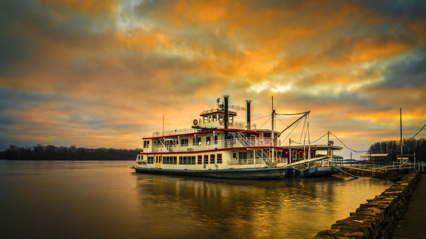 Dramatic Sky Mark Twain Mississippi River Beauty In Nature Cloud - Sky Mode Of Transportation Moored Nature Nautical Vessel No People Orange Color Outdoors Reflection Sailboat Scenics - Nature Sea Ship Sky Sternwheeler Sunrise Sunset Transportation Travel Water Waterfront