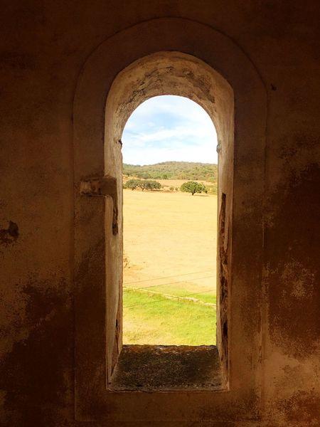 Hill Alentejo Tree Field Farm History Window Architecture Arch Ancient Old Ruin Landscape Nature