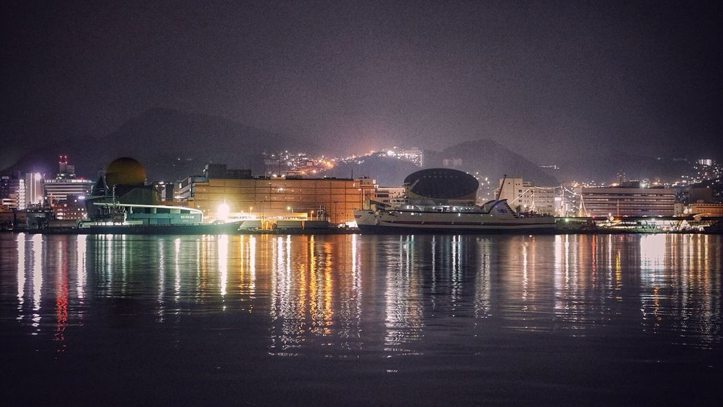 Night Lights Water Reflections : Harbor View Ohato Nagasaki City Nightphotography Foggy Night / 50mm F/2.8 Nagasa-Kirei ( ナガサキレイ )