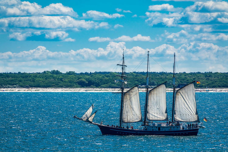 Sailing ship on the Baltic Sea. Baltic Sea Blue Cloud - Sky Day Journey Mode Of Transport Nature Nautical Vessel No People Outdoors Rostock Sailboat Sailing Scenics Sea Sky Tourism Transportation Travel Tree Vacation Warnemünde Water Waterfront Windjammer