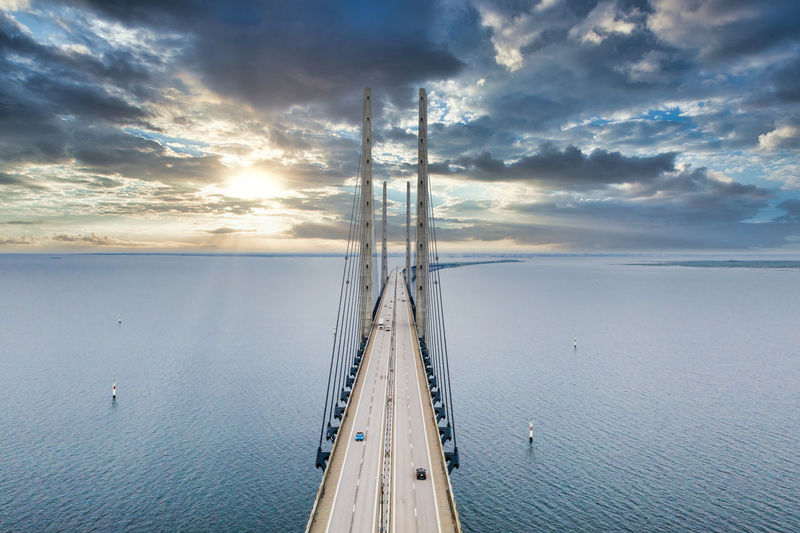 Aerial view of the bridge between denmark and sweden, oresundsbron.