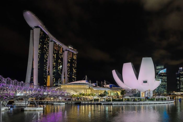 Architecture Night Marina Bay Sands Singapore Helix Bridge Helix Skyline