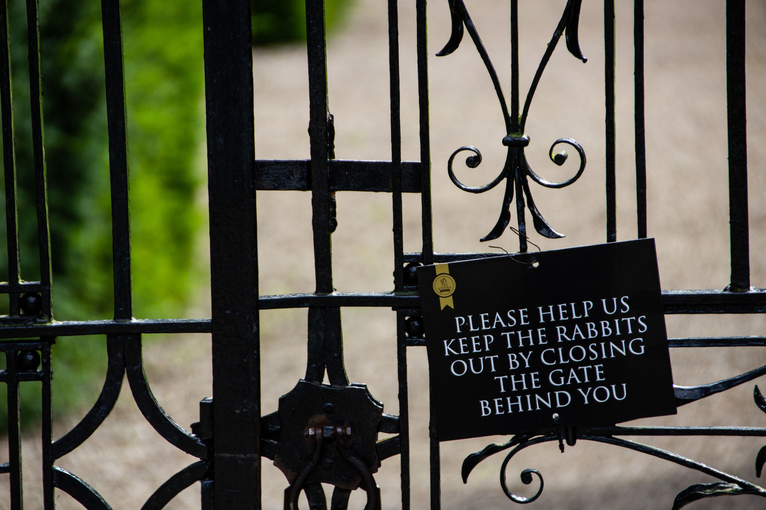 text, communication, metal, safety, security, protection, focus on foreground, western script, no people, sign, fence, gate, barrier, close-up, information, day, outdoors, boundary, information sign, wrought iron, iron, iron - metal, message