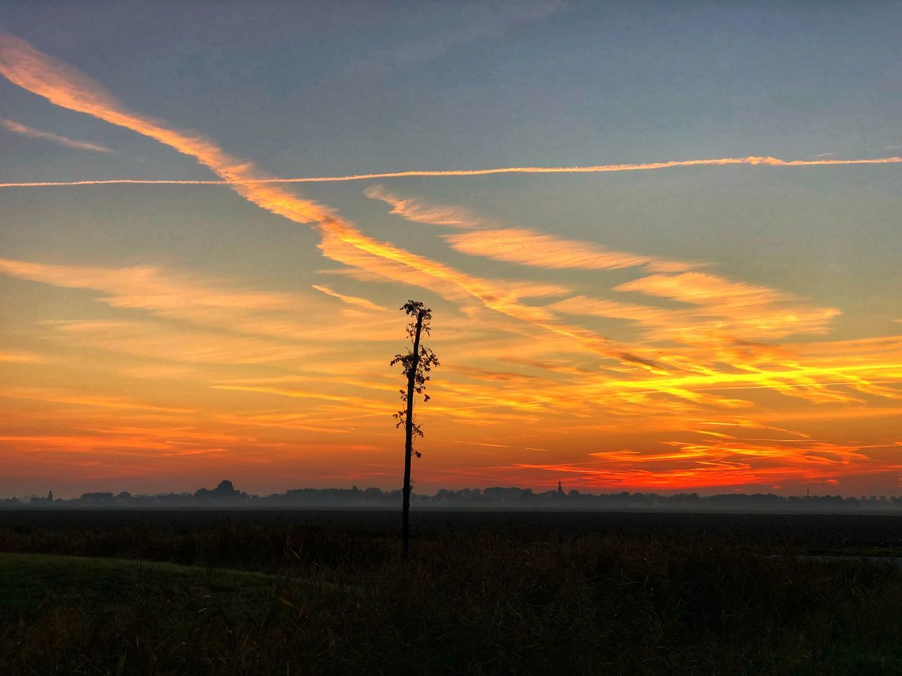 sunset, sky, beauty in nature, cloud - sky, scenics - nature, technology, landscape, land, field, tranquility, tranquil scene, orange color, environment, no people, silhouette, connection, nature, idyllic, electricity, plant, vapor trail, power supply, outdoors, telephone line