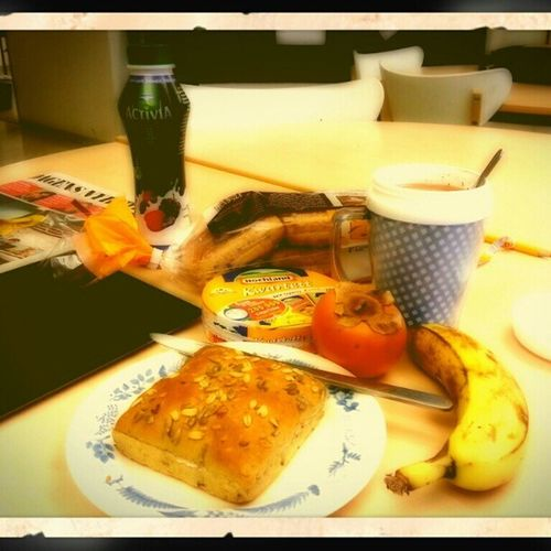My Breakfast at School :-P Sharon Banana pågenbröd fröjd sunflower seeds hochland cheese activia SonyEricsson SurfTablet