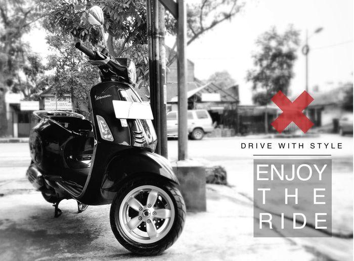 Let's Ride Vespa VespaPrimavera Riding My Motorcycle Blackandwhite Black & White