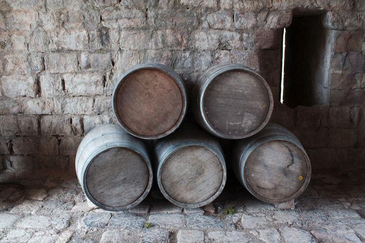 Wine casks Puivert Castle France Casks Puivert Castle Barrel Cellar Indoors  Keg No People Wine Cask Wood - Material