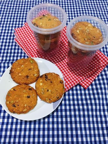 Cereal cookie with sunflower seed, pumpkin seed, and more. Snack Time! Cereal Cookies Packaging Selling Cookie Cookies High Angle View Food And Drink Plate Tablecloth No People Indoors  Food Table Ready-to-eat Dessert Sweet Food