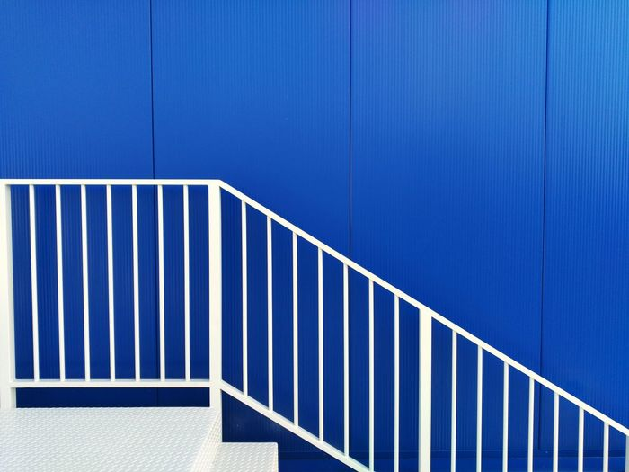 Blue Architecture Pattern No People Day Built Structure Corrugated Iron Outdoors Building Exterior Backgrounds Minimalism Minimal Minimalist Architecture Minimalobsession Minimalist Photography  Stairs Abstractions In Colors Abstract Photography Lines And Shapes Break The Mold BYOPaper! The Architect - 2017 EyeEm Awards The Street Photographer - 2017 EyeEm Awards Neon Life The Graphic City Visual Creativity #urbanana: The Urban Playground