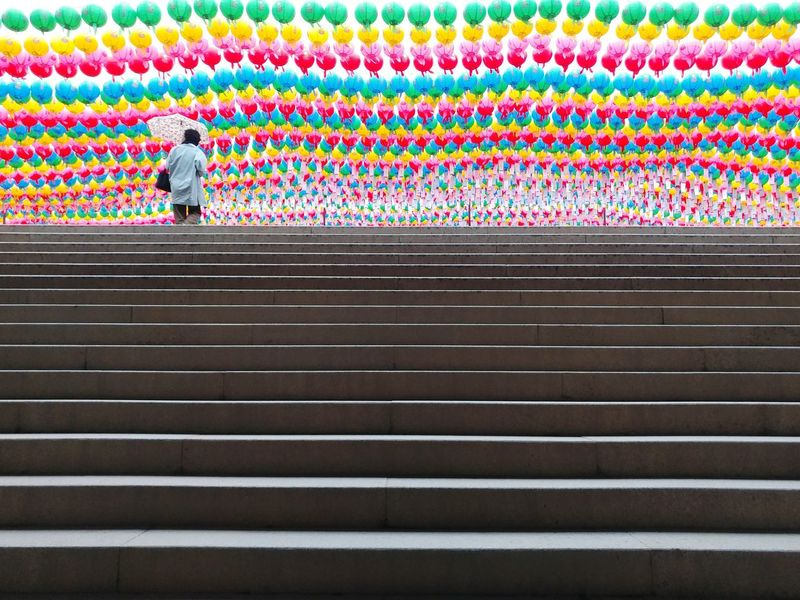 Multi Colored Day Architecture Stairs Buddhist Temple Bongeunsa Outdoors V20