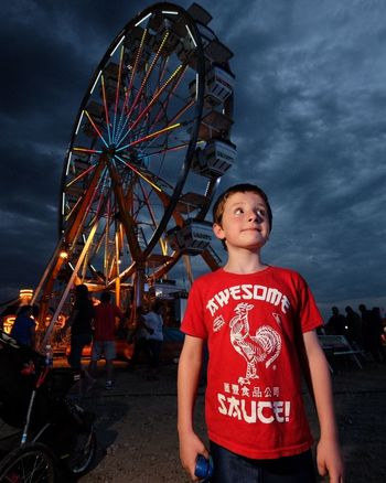 cropped Taking Photos Rural America Night Multi Colored Nightphotography Low Angle View Kansas FUJIFILM X-T1 Cloud - Sky Carnival Cheese! Casual Clothing Lifestyles Illuminated Cloudy Ferris Wheel Boy MidWest Americans Shoot Your Life Lights And Shadows Carnival Rides Summertime Festival Flash Photography
