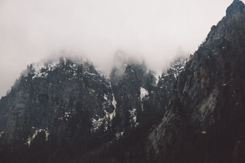 Cliff Clouds Fog Mountain Rainy Snow Spring Yosemite Yosemite National Park Yosemite Valley Shades Of Winter