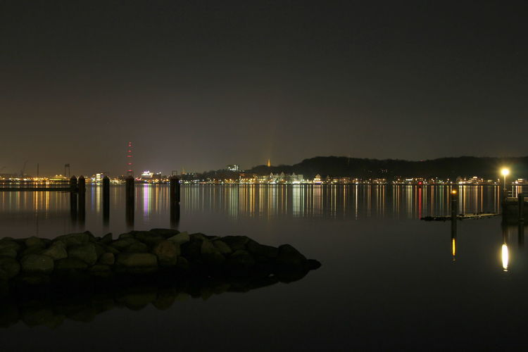 Kiel skyline at night Cityscape Night Lights Water Night Illuminated Sky No People Nature Architecture Copy Space Built Structure Building Exterior Outdoors