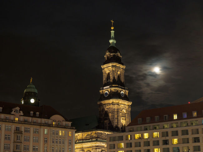 Dresden Altmarkt at night Night Illuminated Built Structure Architecture Building Exterior Sky City Building Travel Destinations No People History Tower Outdoors The Past Dresden Altstadt Dresden Altmarkt Kreuzkirche Dresden Evangelical Church Moon
