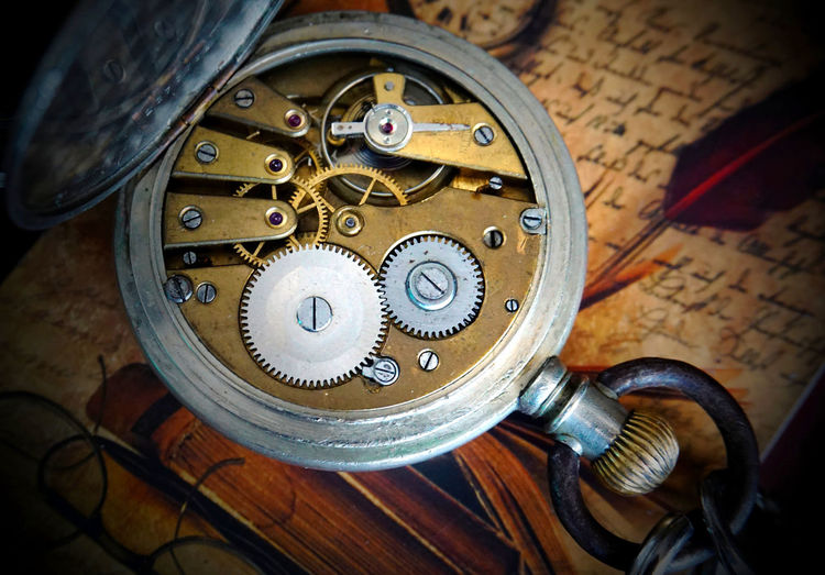 Watch Clock Clockworks Metal Close-up Machinery Indoors  Antique Machine Part Time Equipment Gear Instrument Of Time High Angle View Pocket Watch No People Accuracy Technology Old Wheel