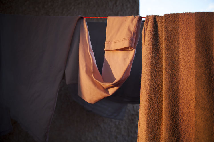 Close-up of clothes drying outdoors