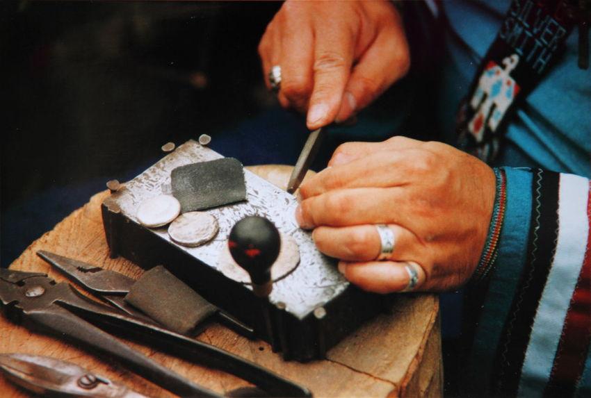 Cherokee Craft Film Film Photography Holding Human Finger Men Native American Indian Nativeamerican  Part Of Person Preparation  Retro Silver  Thomas E. McCutcheon