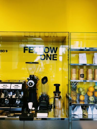 Paint The Town Yellow Yellow No People Indoors  Shelf Technology Day Gauge