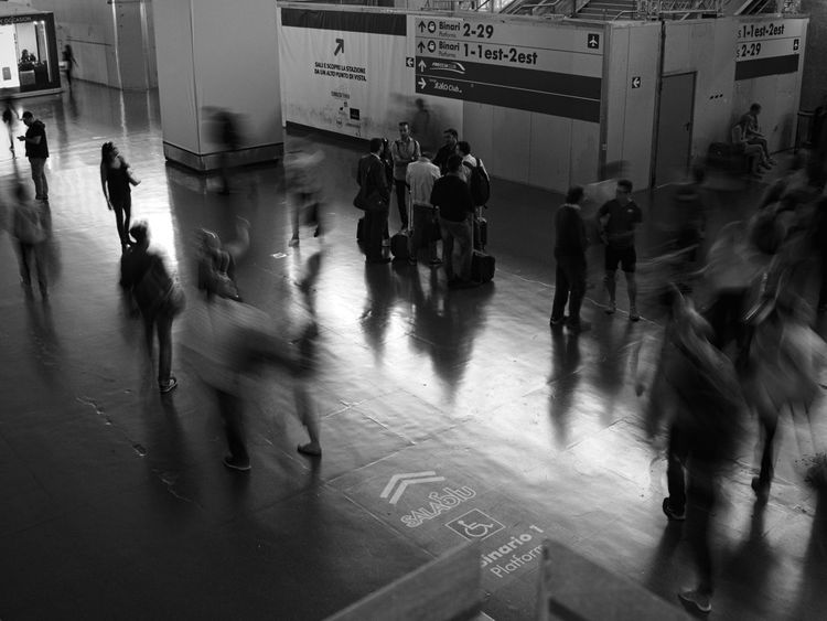 Large Group Of People People Walking Public Transportation Blurred Motion Adult Railroad Station Transportation Adults Only Commuter Men Real People Architecture Subway Train City Day Crowd Indoors  Commuter Train Only Men Mobility In Mega Cities Moving Around Rome Stories From The City Visual Creativity Adventures In The City Focus On The Story The Street Photographer - 2018 EyeEm Awards My Best Travel Photo A New Beginning