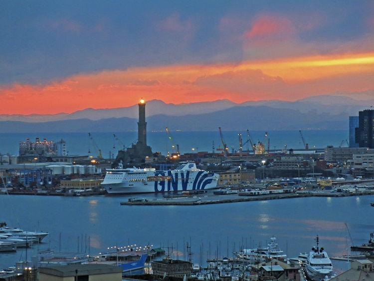 Blue Hour Boats Building Exterior City City Life Cloud Cloud - Sky Genova Genova ♥ Harbour Harbour View Lanterna Di Genova Lighthouse Outdoors Perspective Port Sky Sunset Sunset_collection Waterfront