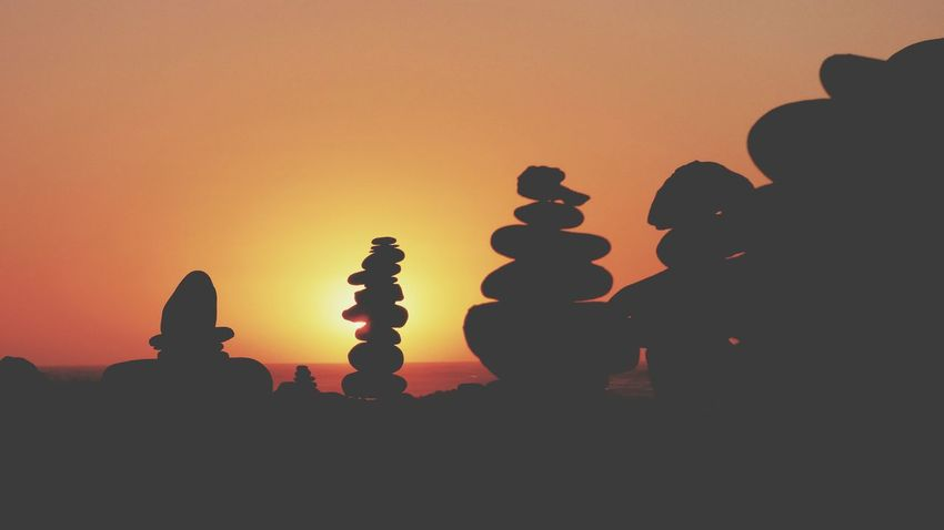 EyeEm Selects Sunset Silhouette Orange Color Tranquility Beauty In Nature Nature Outdoors Day No People Sky The Week On EyeEm Your Ticket To Europe Zen Rock At Beach Summer Rock - Object Sunset Zen Rocks Zen Rocks Sea Beach Stack Balance Silhuette Creative Silhouette_collection Sunset_collection