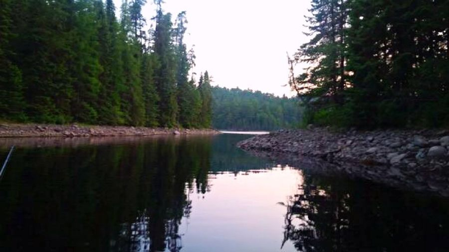 Gorgeous Night! Love this lake! Caught a beauty pike right off that point! Secret Fishing Hole Water Reflections Nature Calm Water Northern Ontario Nature On Your Doorstep POV Of Dee