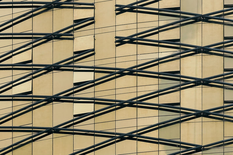 Abstarct Gold Lines Architecture Backgrounds Building Exterior Built Structure City Close-up Diagonals Geometric Shape Low Angle View Metal Pattern Repetition Window The Architect - 2018 EyeEm Awards